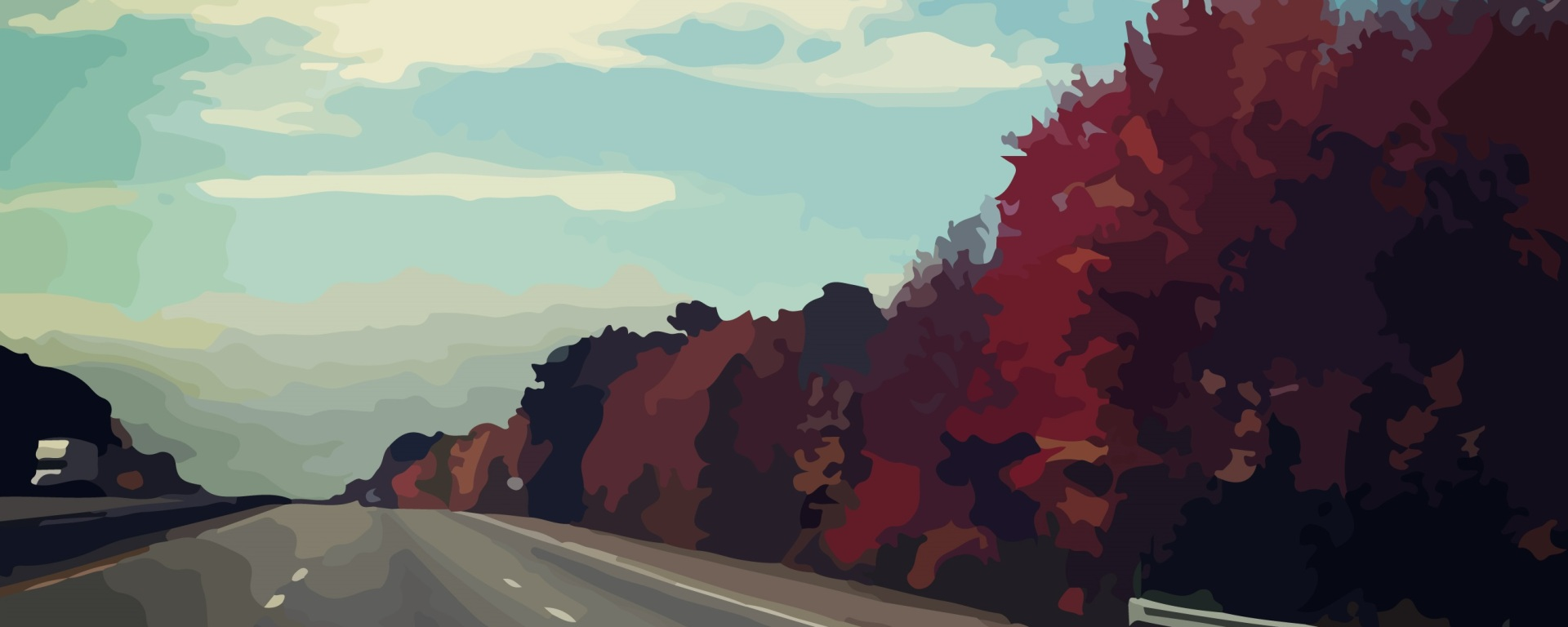 fall, foliage, new england, driving, highway