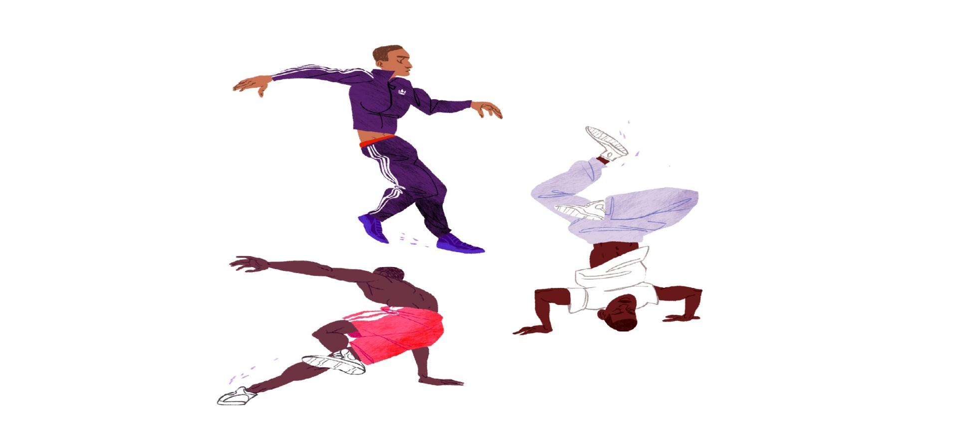 new york, break dancers, travel, illustration