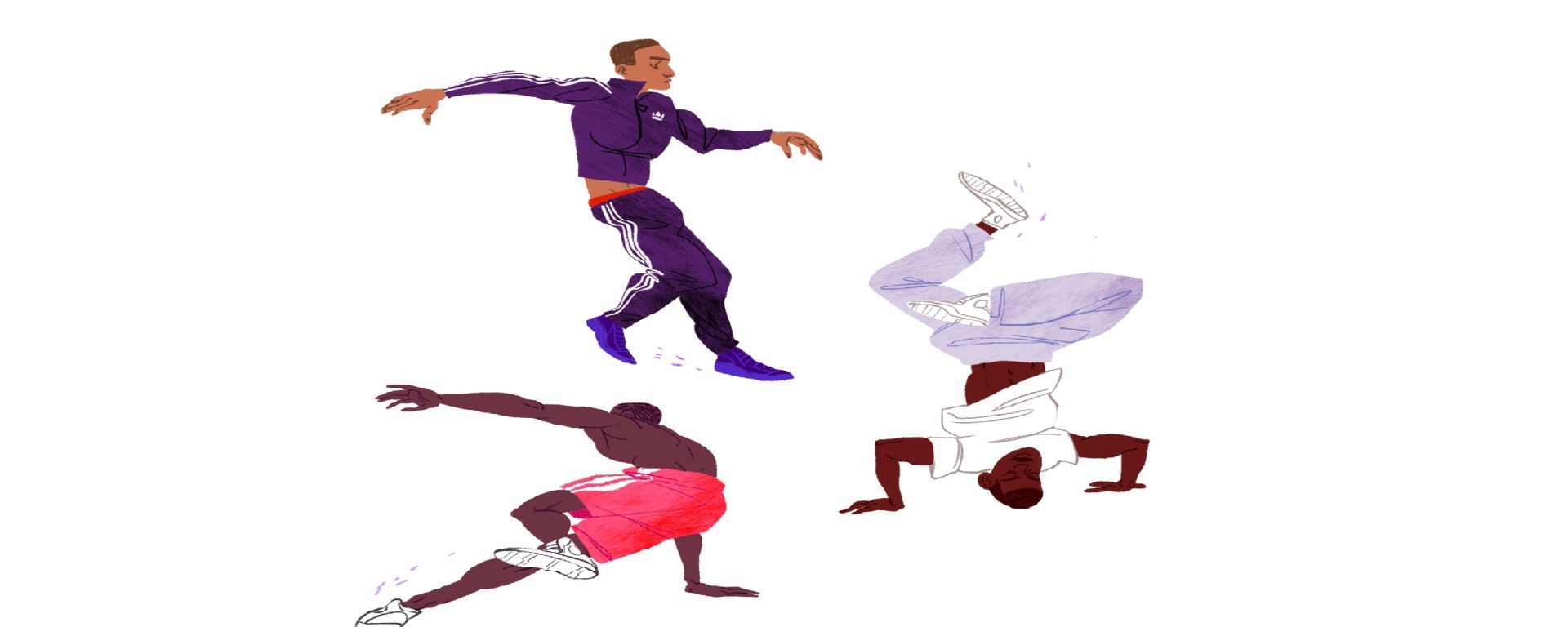 new york, break dancers, travel, illustration