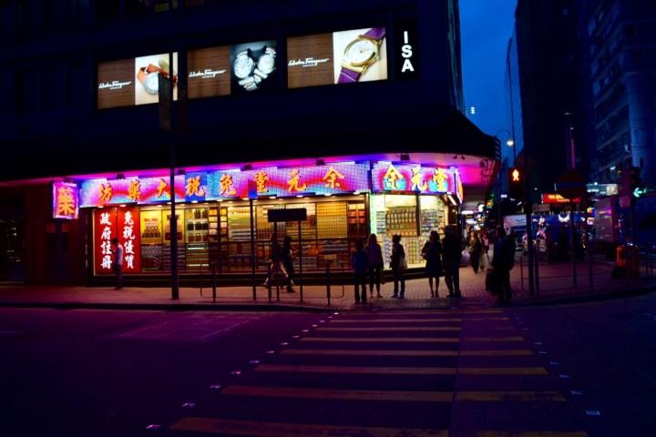 hong kong, lights, night