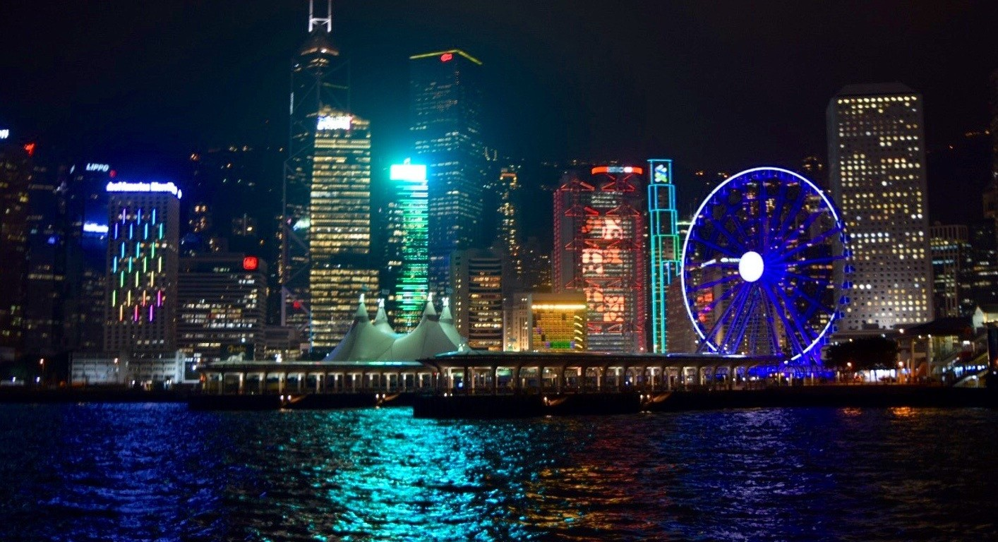hong kong, night, lights