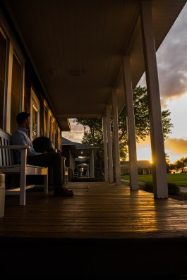 Ryan Huang: Everyone always loves a good sunset, and I have always loved the idea of porches. Porches are by definition, open spaces that are incredibly welcoming and allow you to relax while enjoying the view with great company. While hanging out with friends at the Duke University Marine Lab, I could not pass up the opportunity to take a photo to capture the moment. Here, my friend Chase is sitting on one of the plethora of porches at the marine lab, chilling after a long day of conference talks, enjoying the sunset as the day winds down.