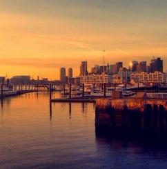 boston, harbor, sunrise