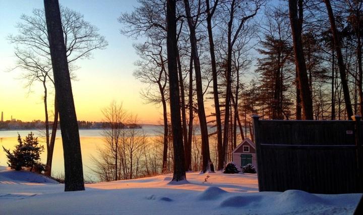 maine, winter, sunset