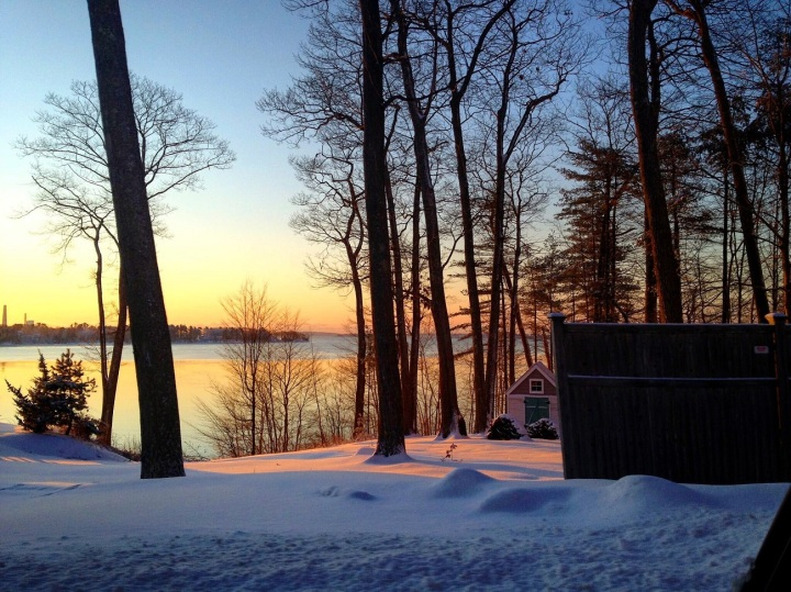 maine, winter, sunset