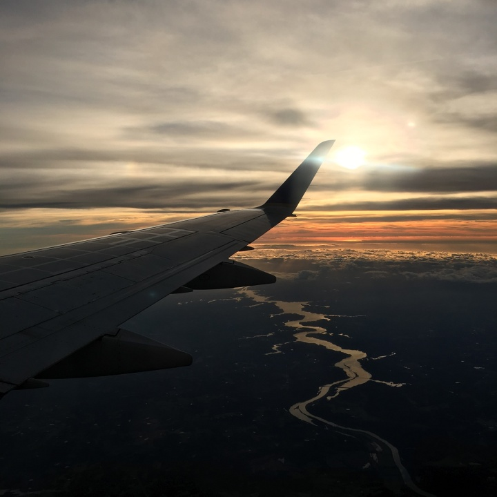 travel, flight, sunset