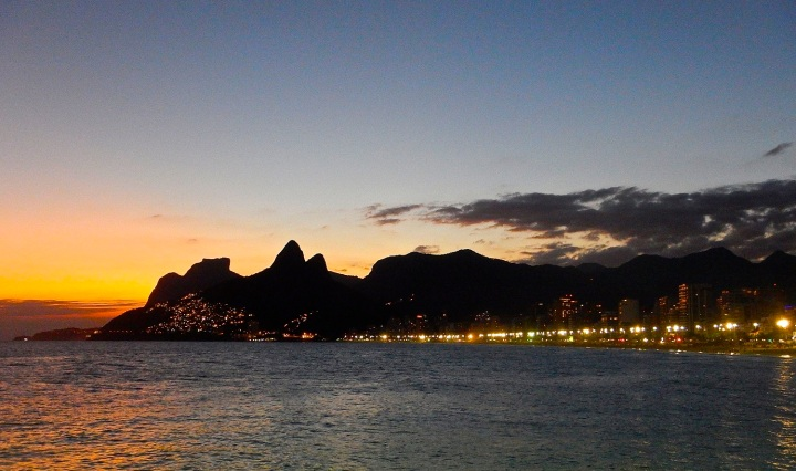 sunset, rio, brazil, travel