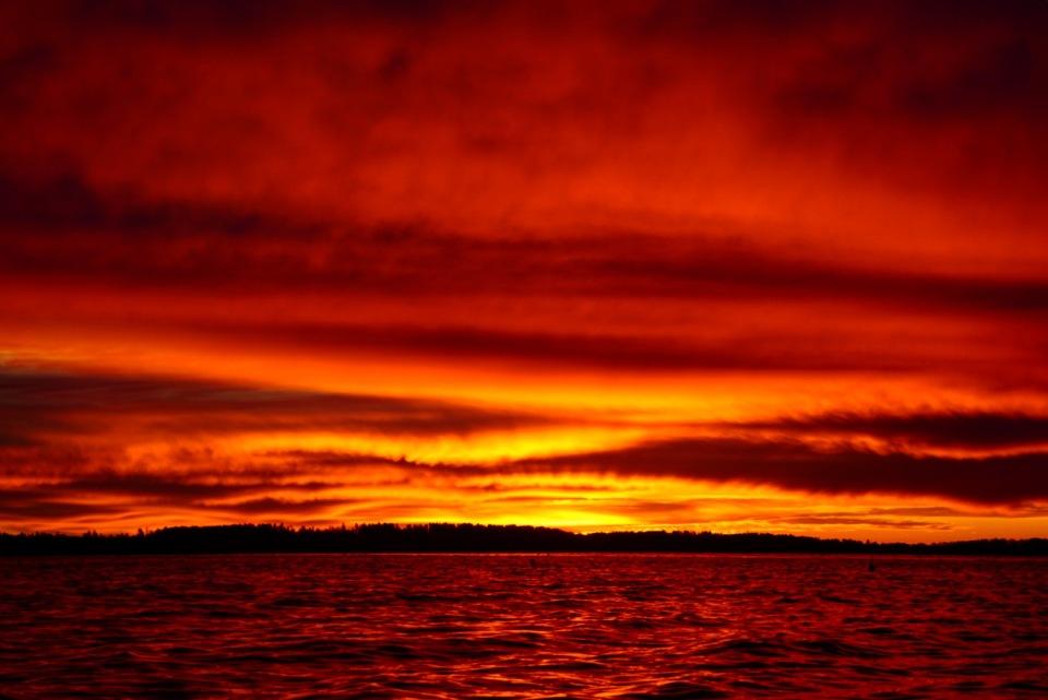 sunset, maine, nature